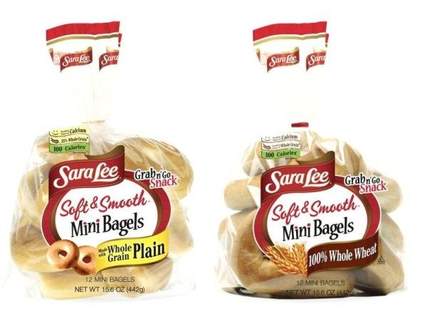 sara lee soft smooth mini bagels plain and whole wheat