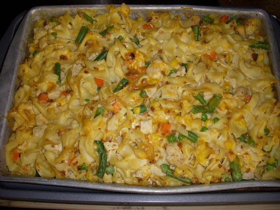 valmgs Cheesy Bacon Chicken Vegetable Noodle Casserole