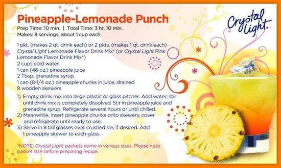 Crystal Light Pineapple Lemonade Punch