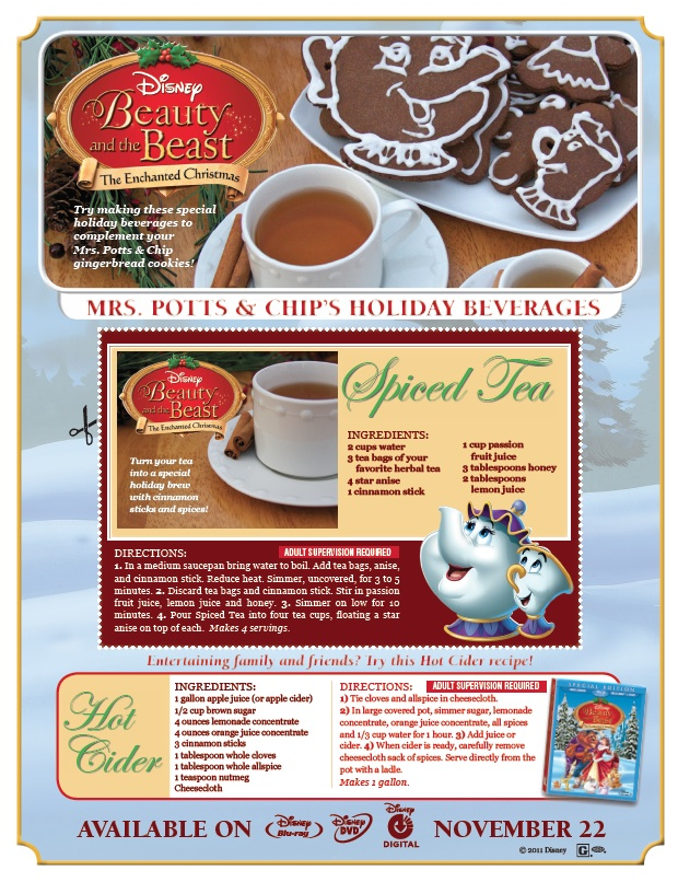Beauty And The Beast Enchanted Christmas Holiday Beverage recipes
