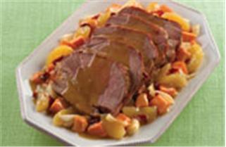 Lucky Leaf Sweet & Hot Slow Cooker Pork recipe