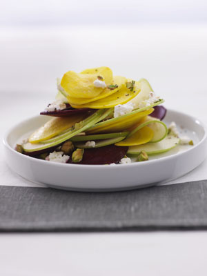 Robin Miller Beet and Apple Salad with Pistachios and Goat Cheese recipe