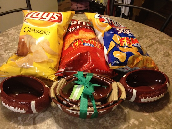 Bob Evans football Bowls and Frito-Lay snacks
