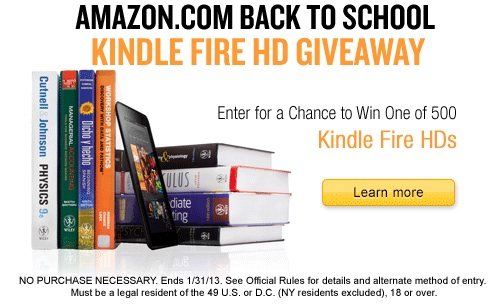 Amazon Student Kindle Fire HD Giveaway
