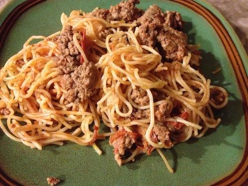 One Pot Meaty Angel Hair Pasta Recipe