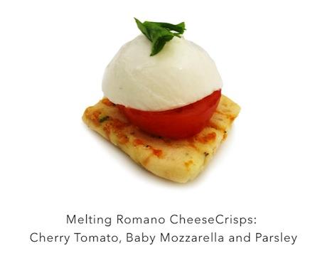 Easy Yet Elegant #Appetizers! John Wm. Macys CheeseCrisps with Cherry Tomato, Baby Mozzarella & Parsley