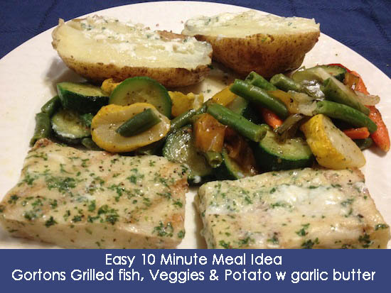 10 Minute Meal - Gorton's Grilled fish, vegetables and potato with garlic butter #RealFabulous