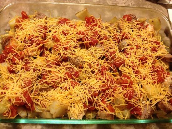 Cheesy Sausage Chicken And Potatoes Recipe