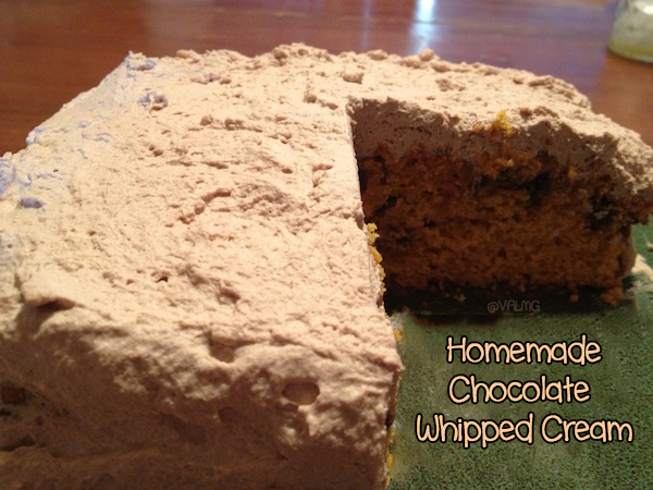 Homemade Chocolate Whipped Cream Icing