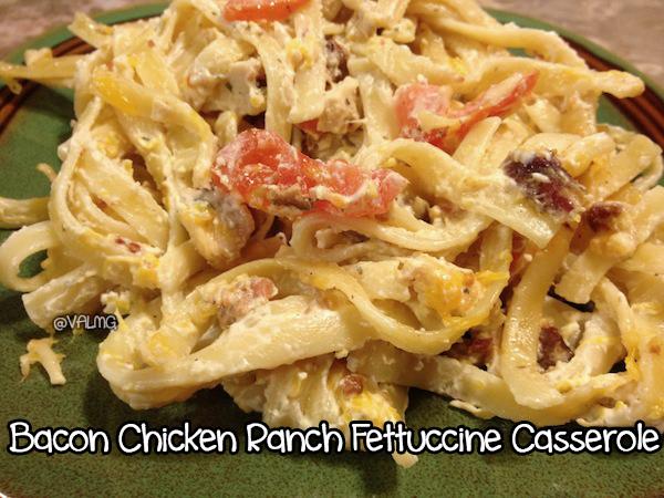 Bacon Chicken Ranch Fettuccine Casserole Recipe