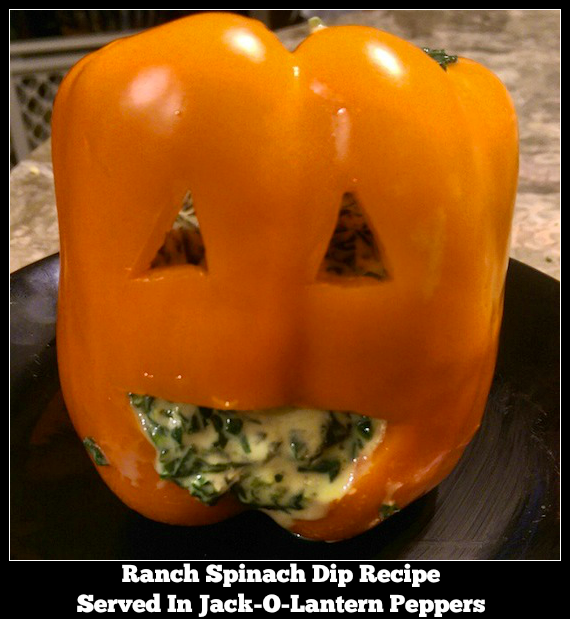 Ranch Spinach Dip Recipe - Served In Jack-O-Lantern Peppers