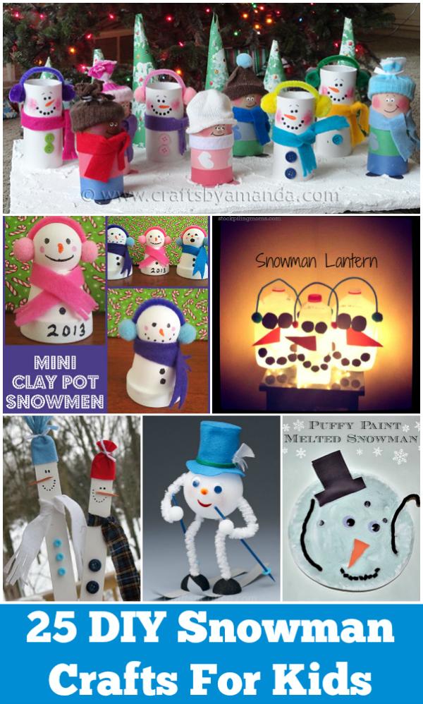 25 DIY Snowman Crafts For Kids roundup