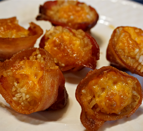 Gluten-Free Cheesy Rice Filled Bacon Cups