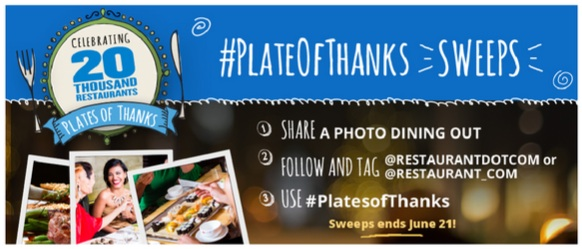 Restaurant.com Plate Of Thanks Sweepstakes