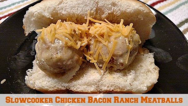 Slowcooker Chicken Bacon Ranch Meatballs Recipe - From Val's Kitchen
