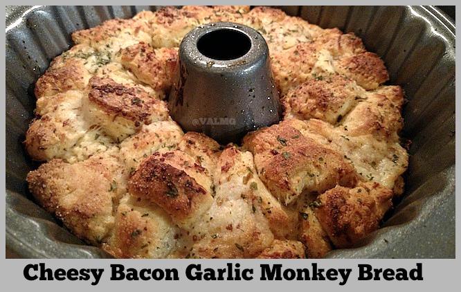 Cheesy Bacon Garlic Monkey Bread Recipe - From Val's Kitchen
