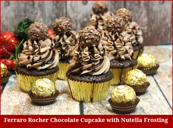 Ferraro Rocher Chocolate Cupcake With Nutella Frosting Recipe - From Val's Kitchen