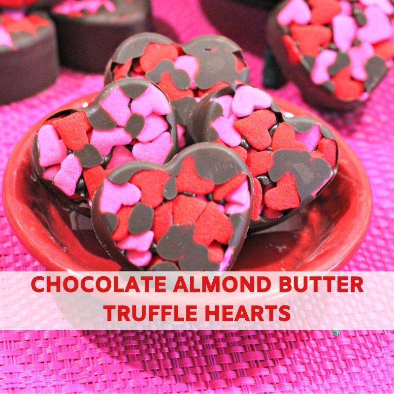 Chocolate Almond Butter Truffle Hearts Recipe For Valentine's Day