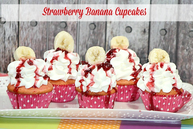 Strawberry Banana Cupcakes Recipe - From Val's Kitchen