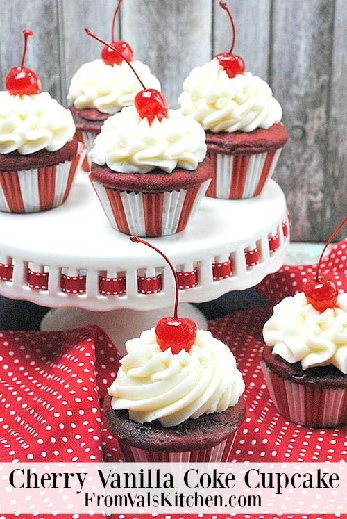 Cherry Vanilla Coke Cupcake Recipe - From Val's Kitchen