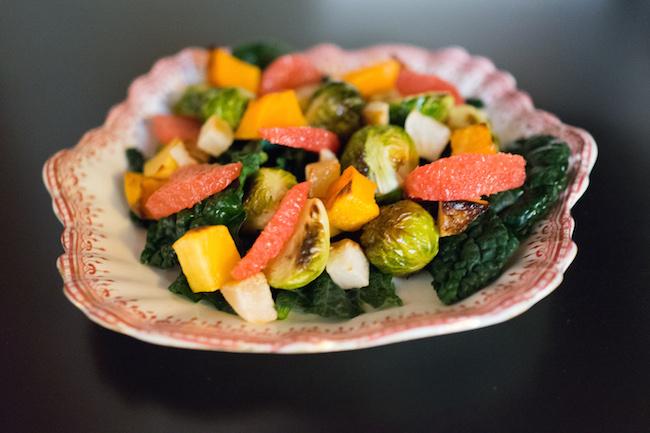 Roasted Veggie Salad with Wonderful Sweet Scarletts Grapefruit-Miso Vinaigrette Recipe