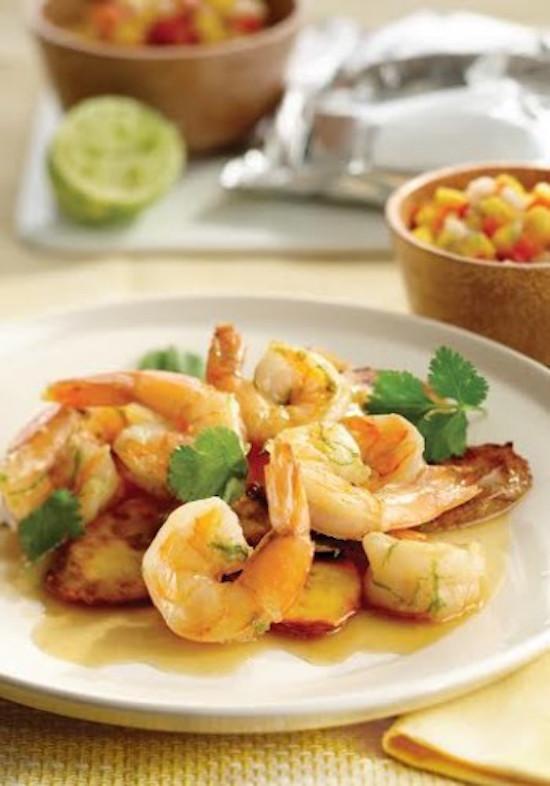 Coconut Lime Shrimp With Plantains And Mango Salsa Recipe