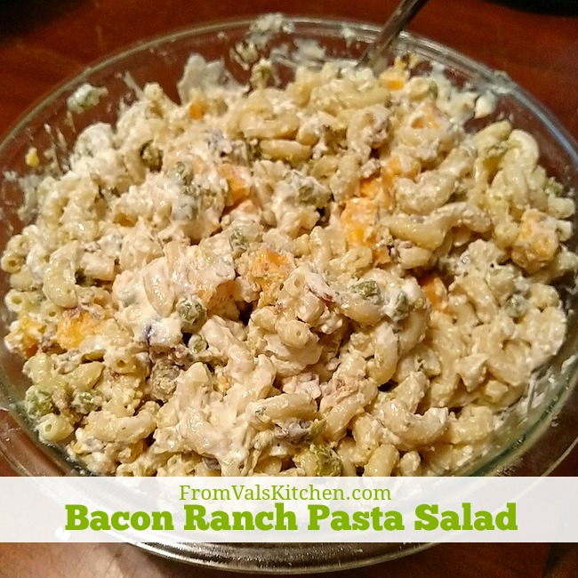 Bacon Ranch Pasta Salad recipe From Val's Kitchen