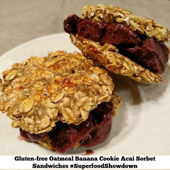 Gluten-free Oatmeal Banana Cookie Acai Sorbet Sandwiches - #SuperfoodShowdown Recipe Contest