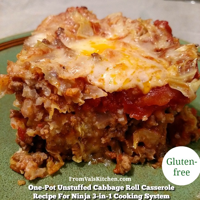 One-Pot Gluten-free Unstuffed Cabbage Roll Casserole Recipe For Ninja 3-in-1 Cooking System From Val's Kitchen