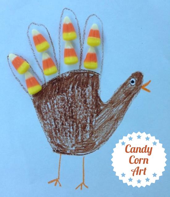 5 Arts & Crafts Projects Using Candy Corn - Handprint Turkey Candy Corn Art