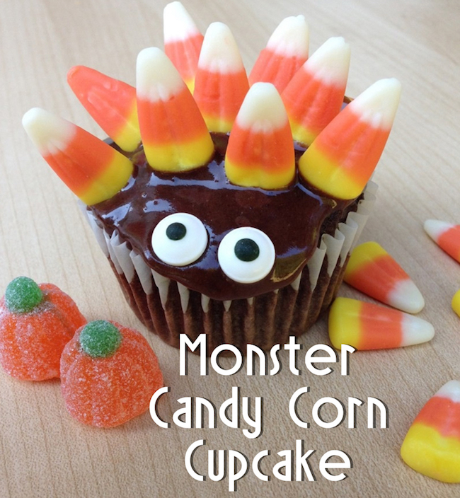 10 Fun Candy Corn Recipes - monster candy corn cupcakes