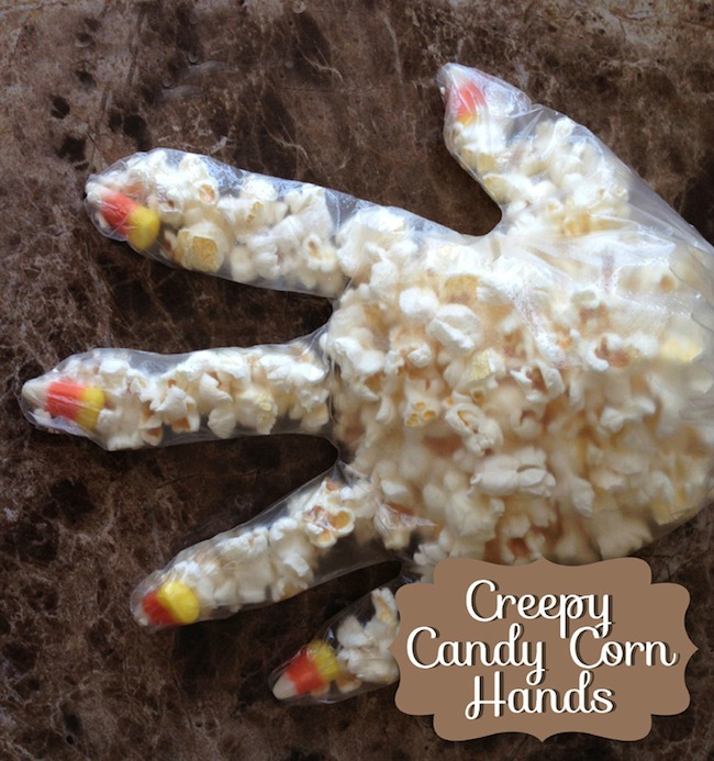 5 Arts & Crafts Projects Using Candy Corn -Creepy Candy Corn Popcorn Hands