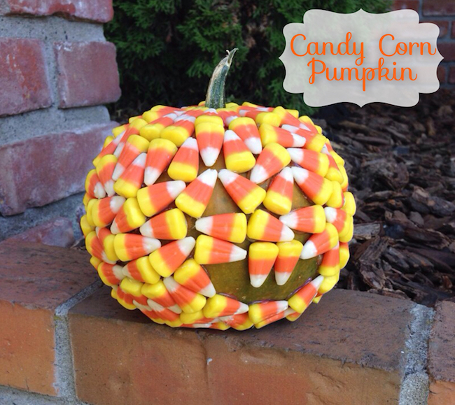 5 Arts & Crafts Projects Using Candy Corn - Candy Corn Covered Pumpkin