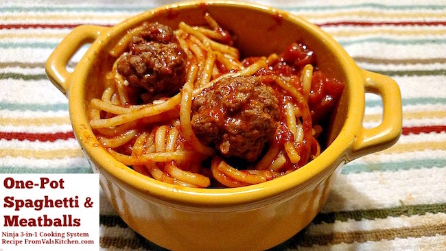 One-Pot Spaghetti And Meatballs Recipe For Ninja 3-in-1 Cooking System From Val's Kitchen
