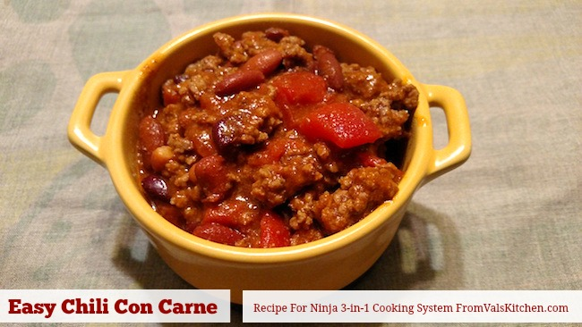 Easy Chili Con Carne Recipe For Ninja 3-in-1 Cooking System From Val's Kitchen