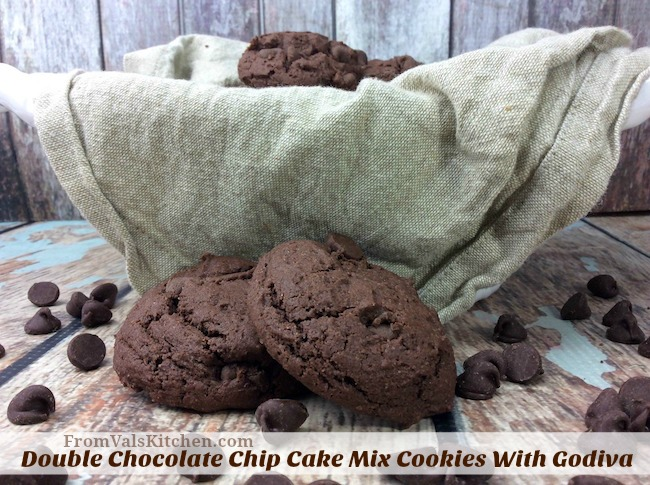 Double Chocolate Chip Cake Mix Cookies With Godiva Recipe From Val's Kitchen