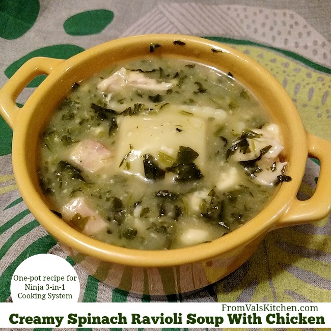 One-Pot Creamy Spinach Ravioli Soup With Chicken #Recipe For Ninja 3-in-1 Cooking System From Val's Kitchen