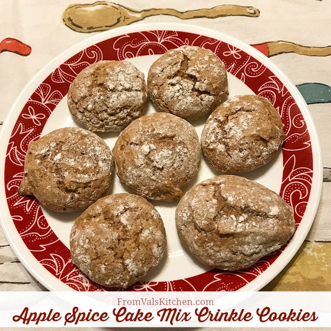 Apple Spice Cake Mix Crinkle Cookies Recipe From Val's Kitchen