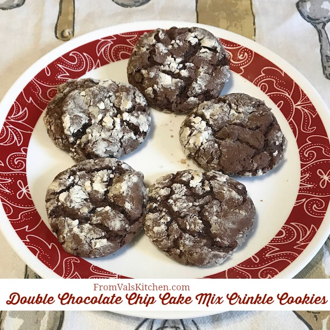 Double Chocolate Chip Cake Mix Crinkle Cookies Recipe From Val's Kitchen