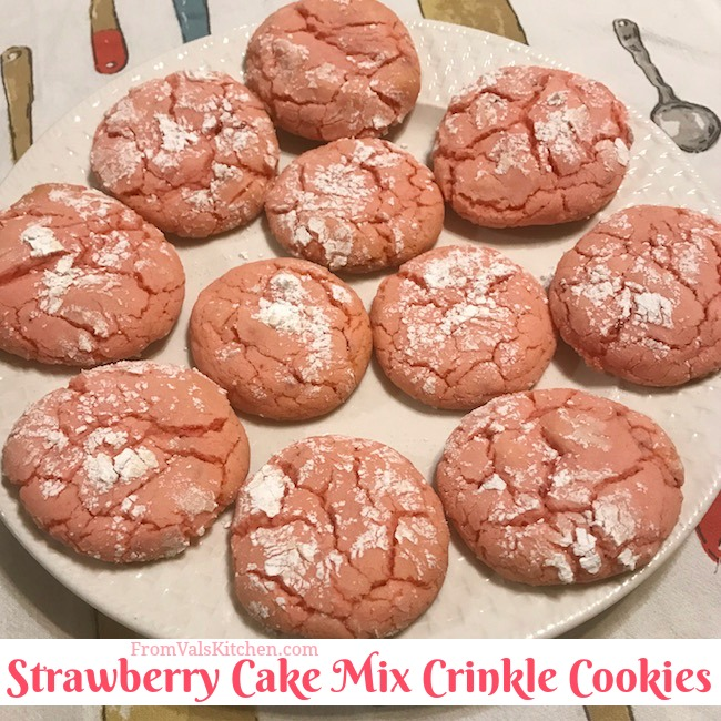 Strawberry Cake Mix Crinkle Cookies Recipe From Val's Kitchen