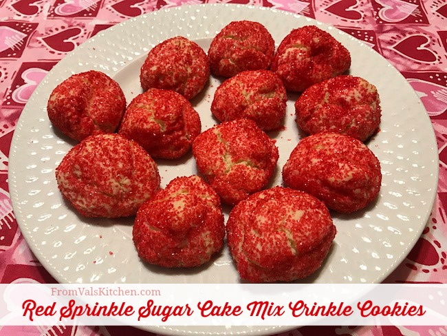 Red Sprinkle Sugar Cake Mix Crinkle Cookies Recipe From Val's Kitchen