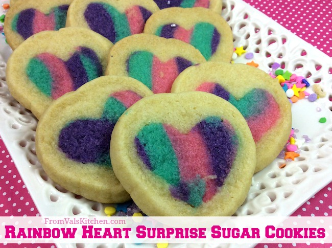 Rainbow Heart Surprise Sugar Cookies Recipe From Val's Kitchen