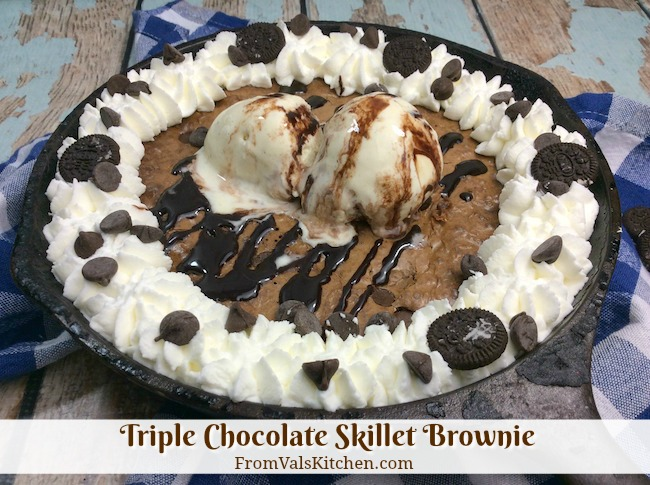 Triple Chocolate Skillet Brownie Recipe From Val's Kitchen