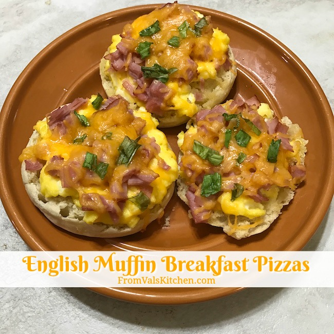 English Muffin Breakfast Pizzas Recipe From Val's Kitchen