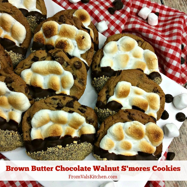 Brown Butter Chocolate Walnut S'mores Cookies Recipe From Val's Kitchen