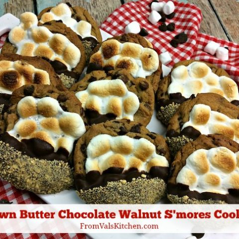 Brown Butter Chocolate Walnut S'mores Cookies