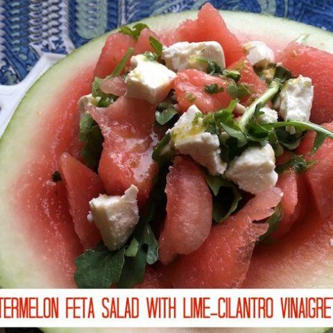 Watermelon Feta Salad with Lime-Cilantro Vinaigrette Recipe