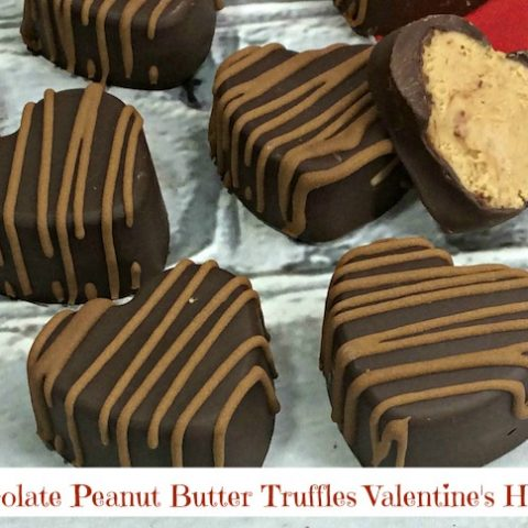 Chocolate Peanut Butter Truffles Valentine's Hearts