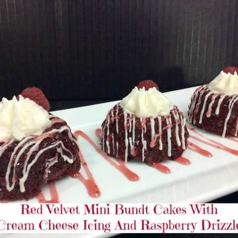 Red Velvet Mini Bundt Cakes With Cream Cheese Icing And Raspberry Drizzle Valentine's Day Recipe From Val's Kitchen
