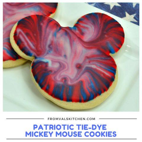 Patriotic Tie-Dye Mickey Mouse Cookies
